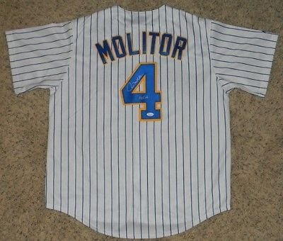 Paul Molitor Autographed Signed Milwaukee Brewers #4 Throwback Jersey (authenticated by JSA)