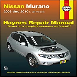 nissan murano 2003 thru 2010 all models haynes repair. Black Bedroom Furniture Sets. Home Design Ideas