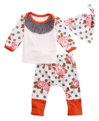 Newborn Baby Kids Girls Flower Print Polka Dots Tops+Pant+Hat Outfits 3pcs (6-12 Months, White)