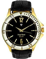 Swiss Grand SG-1155 Golden Coloured With Black Leather Strap Analog Quartz Watch For Men