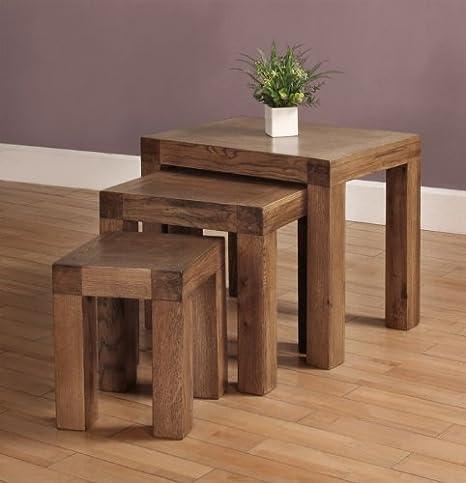 3 mesas de centro nido de Devon recuperada de los muebles de madera de roble macizo