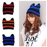 ねこ耳 ボーダー ニット帽ネコミミ しましま 猫耳 帽子 カジュアル ファッション小物 【編みこみブレスレット(1個) & カラフルヘアゴム(2個)付き】 レディース カラー:ブルー×ブラック
