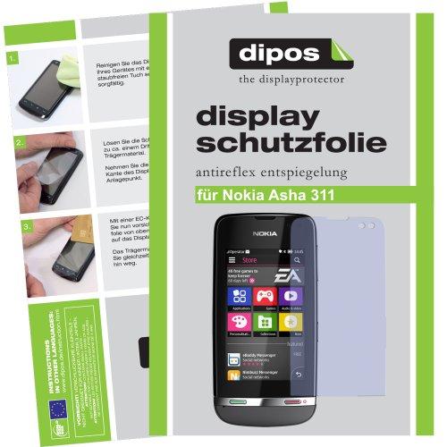 2x Dipos Antireflex Displayschutzfolie für Nokia Asha 311