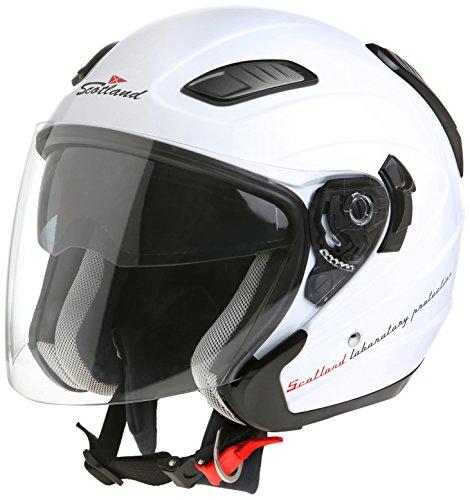 Scotland 120004 Casco Force 03.1 da Moto/Scooter con Doppia Visiera, Unisex, Bianco Lucido, 57-58 (L)