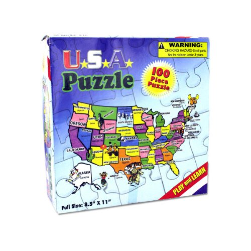 KIDS 100 Pc USA Map Jig Saw Puzzle - Play and Learn Puzzles!