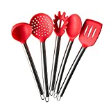 TTLIFE Silicone Spatula Utensil Kitchen 5 Pieces With Spaghetti Pasta Server, Slotted Turner, Serving Spoon, Deep Ladle and Slotted Spoon