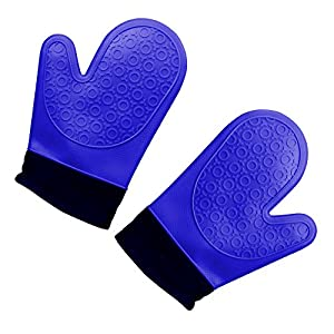 Mighty Fine Online Heat Resistant Silicone Kitchen Oven Mitts with Cotton lining interior for cooking, baking, smoking, grilling & potholder