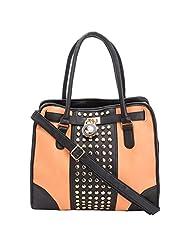 Aadaana Stamped Women's Orange Hand-held Bag