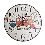 FOXDE TECH European Wooden Owl Vintage Round Forest Stand Wall Clock Decoration 12/30/34cm