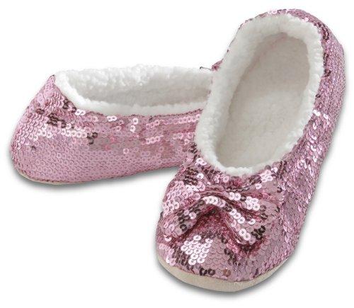 snoozies! Ballerina Bling Metallic Shine Womens Cozy Sequin Slippers