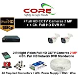 CORE 4-CH FULL HD DVR 2-MP ( 1080P). WITH 1-TB HARD DISK , 2-MP BULLET 2-PC,4-CH POWER SUPPLY , 3+1 WIRE ROLL, WITH BNC /DC CONNECTORS COMBO PACK.