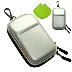 New first2savvv heavy duty silver camera case for Panasonic Lumix DMC-TZ40 with LENS Cleaning Cloth