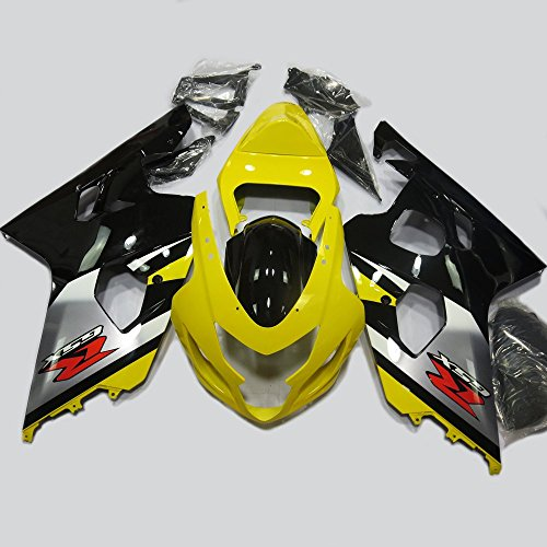 ABS Injection Molding - Yellow & Black Painted with Graphic Fairing Kit for Suzuki GSXR 600 / 750 K4 (2004-2005) (2004 Gsxr 600 Seat Cowl compare prices)