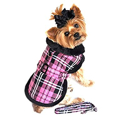 "Doggie Design Pink Classic Plaid Wool/fur Collared Harness Coat W/leash Size Medium (Chest 16-19"", Neck 13-16"", Weight 11-15lbs.)"