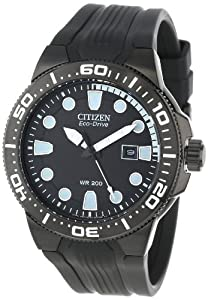 "Citizen Men's BN0095-08E ""Scuba Fin"" Eco-Drive Stainless Steel and Black Polyurethane Diver's Watch"