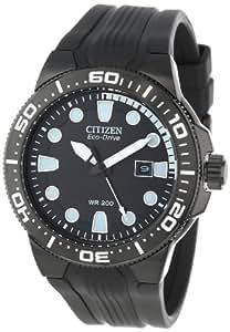 "Citizen Men's BN0095-08E ""Scuba Fin"" Eco-Drive Stainless Steel and Black Polyurethane Diver's Watch"