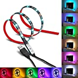 USB LED Strip Light, Foxcesd 1-Meter (3.28Ft) Waterproof Multi Color Changing RGB LED Light Strip Kit, LED TV Backlight Kit with USB Port, LED Tape for HDTV, Desktop, Monitors, Gardens, Homes, Kitchen, Cars, Bar