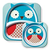 Skip Hop Zoo Melamine Plate and Bowl Set, Owl