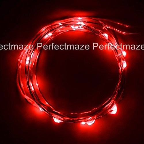 Perfectmaze Red 7Ft 20 Leds Strings Led Lights Strings Battery Operated Lights Fairy Lights Aa Battery Powered Ultra Thin String Wire Potted Plants Led Lights