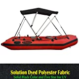 """Seamax Portable 3 Bow Bimini Top Fit 6 to 9ft Inflatable Boat, Solid Black Marine Grade Heavy Duty Canopy, Size A Dimension W50"""" H46"""" L48"""""""
