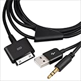 Outdoortips Black,iPhone 3.5mm Audio and USB Dock Cable, AUX, Charge and play In-car music through Car Stereo at the same time, Use at home, portable, or car stereo to listen to high quality line-out audio, USB 3.5mm In-Car AUX Audio/Charger Cable For Ap