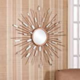 Mid Century Modern Sunburst Mirrored Wall Sculpture. Decorate Entryways, Kitchens, and Living Rooms with This Gold Finish and Dazzling Metal Strands Mirror