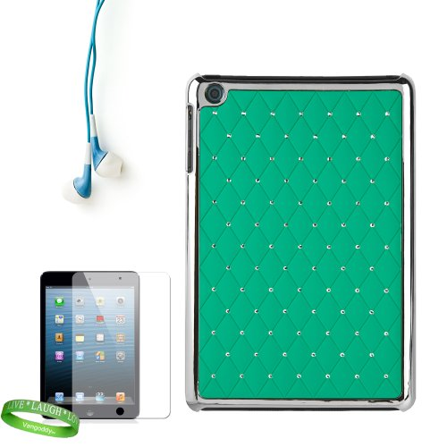 Designer Reinforced Snap On Teal Diamond Design Cover With Elegant Bejeweled Highlights For All Models Of The Apple Ipad Mini 7.9 Inch Tablet (Wifi, Wifi + Cellular, 16Gb, 32Gb, 64 Gb, Black, White, A5, At&T, Sprint, Verizon Wireless) + Custom Cut Ipad Mi