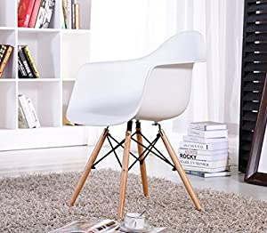 VECELO Eames Style Dining Room Chair with Arms , Set of 2, White from VECELO