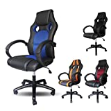 VINGO® Chefsessel mit gepolsterte Armlehnen Komfort Racing Stuhl blau Belastbarkeit 120 kg Ergonomischer