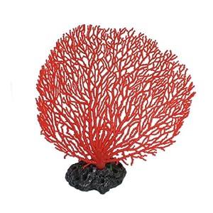 Jardin Plastic Coral Design Ornament for Aquarium, 6.5-Inch High, Red