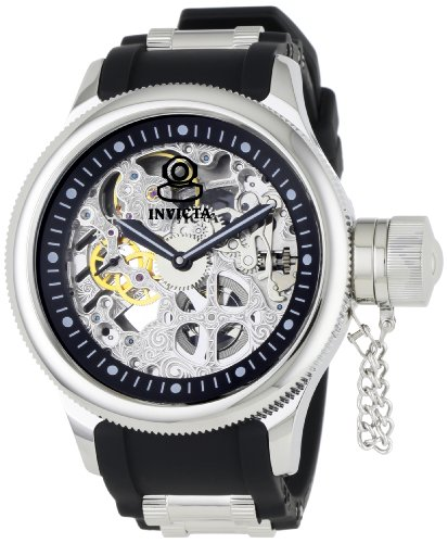 Invicta Men's 1088 Russian Diver Mechanical Skeleton Dial Black Polyurethane Watch