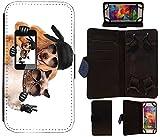 Obtenez La Meilleure Offre Flip Cover Taille L Étui universel pour téléphone portable Case 1008 Hund Katze Rocker Piece Schwarz Braun Weiß