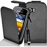 Supergets Hülle für Samsung Galaxy Y Imitat Ledertasche Hülle in Schwarz, Mini Eingabestift, Schutzfolie, Zubehör Set
