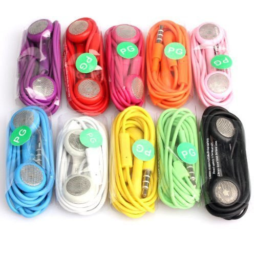 Honbo® 10 Pack Bundle Wholesale Lots Earphone Headphone With Jack Mic For Iphone 3G 4G 4S 3Gs 3G Mp3 (10 Color For 4S)