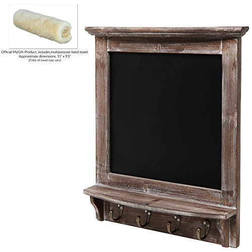 Wall-Mounted-Vintage-Rustic-Wood-Framed-Memo-Message-Black-Chalkboard-w-4-Storage-Coat-Hooks-MyGift