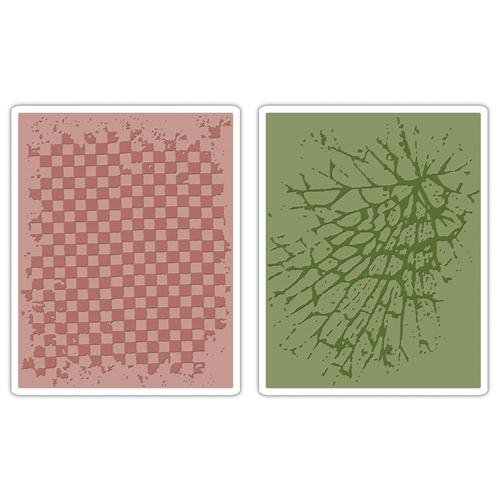 Sizzix Texture Fades 2-Pack Embossing Folders By Tim Holtz: Checkerboard & Cracked