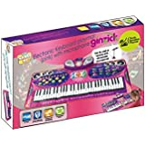 Ginzick Music Piano Electronic Keyboard Playmat with Microphone and Stand - Pink