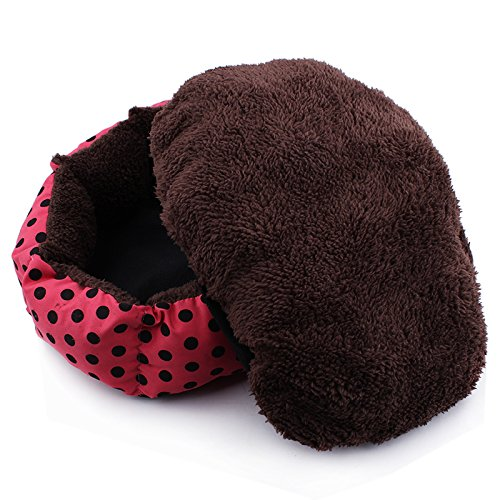 3s Pet Dog Puppy Cat Warm Bed House Plush Cozy Nest Mat Pad (Red)
