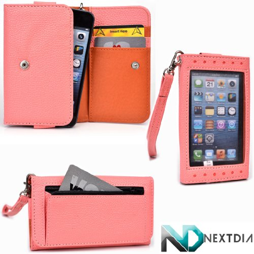 Smartphone Wallet Case Fits Zte Grand Era U895 Pale Pink Orange Roughy With Viewing Window And Hand Strap + Nd Velcro Cable Tie front-1044885