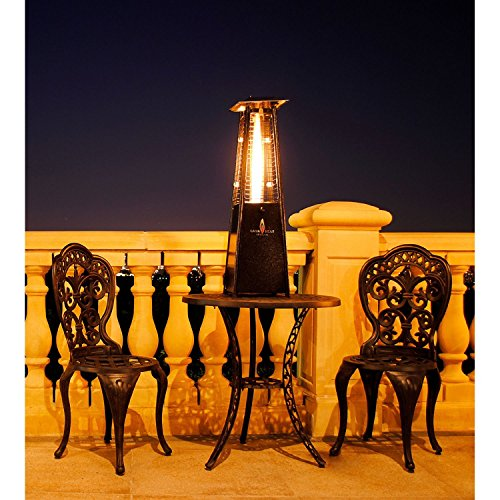 "Lava Heat Italia Outdoor Patio Propane Tabletop Propane Heater, With 27,000 Btu Output, Specially Designed Borosilicate Shatter-Resistant Glass Tube, With Adjustable Flame And Heat Level Control With Safety ""Tip-Over"" Switch, And Cool Touch Steel Housing,"