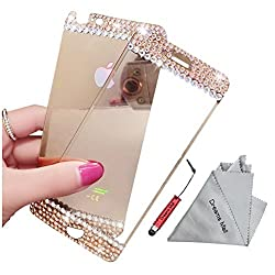 Dreams Mall(TM)Top Fashion Mirror Effect with Diamond Tempered Glass Screen Protector Film Decal Skin Sticker for Apple iPhone 6 4.7 inch-Gold