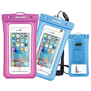 Waterproof Case, RISEPRO Floatable Underwater Pouch Dry Bag 2 pack Red & Blue With Armband & Audio Jack for iPhone 6, 6 plus, 6s, 6s plus, 5, 5s, Samsung Galaxy Screen Touchable IPX8 100FT FB1710-BUR