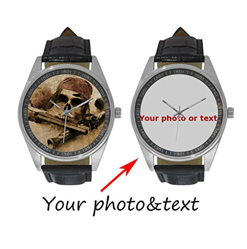 InterestPrint Personalized Custom Gift Men's Casual Leather Strap Wrist Watch with Your Photo or Text (Custom Photo Watch compare prices)