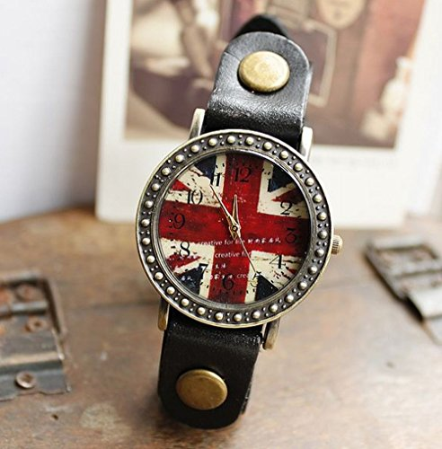 Dress up! Antique flag arm clock British Union Jack leather bands all 4 colors (black)