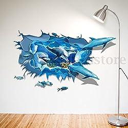 3D Wall Sticker Dolphins Ocean Cracked Art Decal Mural Kids Bathroom Wallpaper