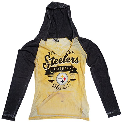 Pittsburgh Steelers Womens Gold Black Burnout Raglan V-Neck Pullover Hooded  Long Sleeve T-shirt from SteelerMania f1627b66a
