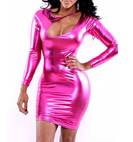 Female Metallic Costume Mini Dress Faux Leather Clubwear