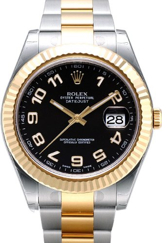 Rolex Datejust II Steel/Yellow Gold Watch, Black Arabic Dial