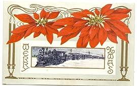 1915 Vintage Holiday Railroad Postcard - Merry Xmas