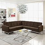 Loft L-Shaped Wool Sectional Sofa, Chocolate